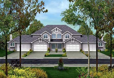 Fourplex with multi gabled facade 57078ha cad for Fourplex plans with garage
