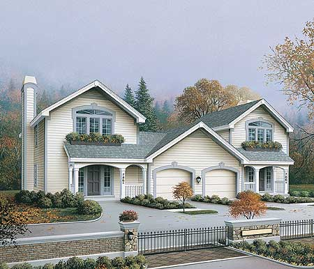 Compact Two Story Duplex 57088ha Architectural Designs