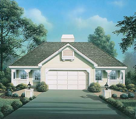 Double cottage multi family home plan with breezew for Multi family house plans narrow lot