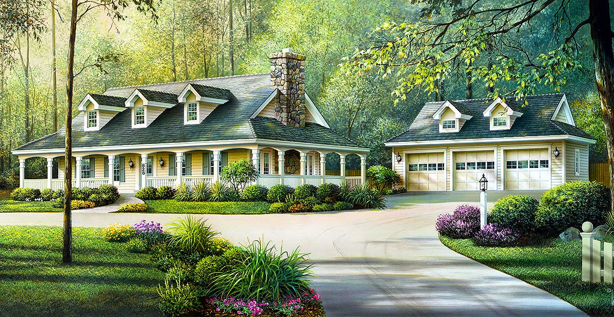 Country ranch with detached three car garage 57094ha for Ranch house plans with 3 car garage