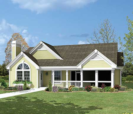 Cottage with screened porch garage and shop 57098ha for Cottage house plans with screened porch
