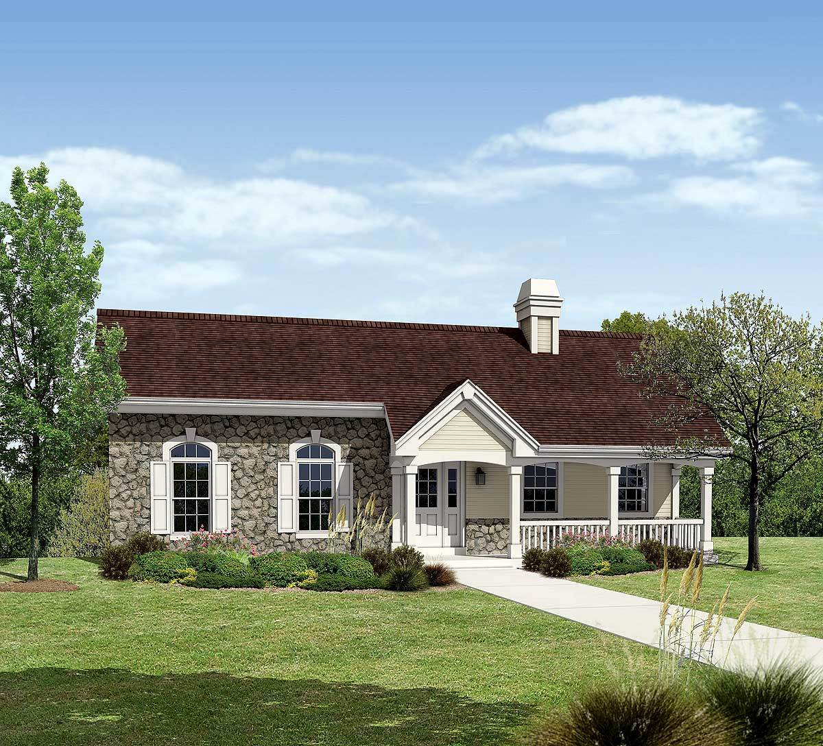 Small ranch with three car garage and covered deck for Ranch house plans with 3 car garage