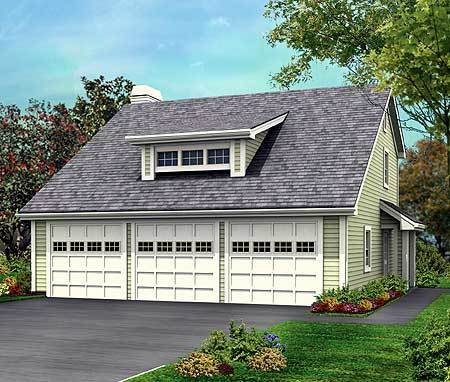 Three car garage with rear apartment 57114ha Triple car garage house plans