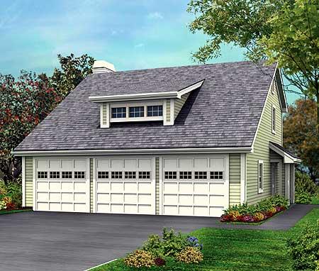 Three car garage with rear apartment 57114ha for 3 car garage apartment floor plans