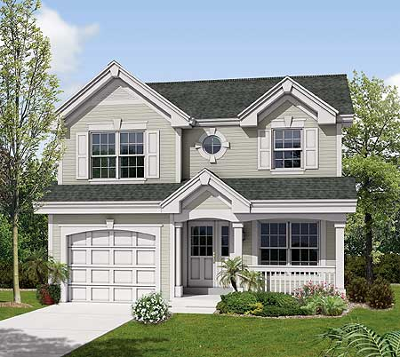 Compact two story for a small site 57117ha 2nd floor for Traditional house plans two story