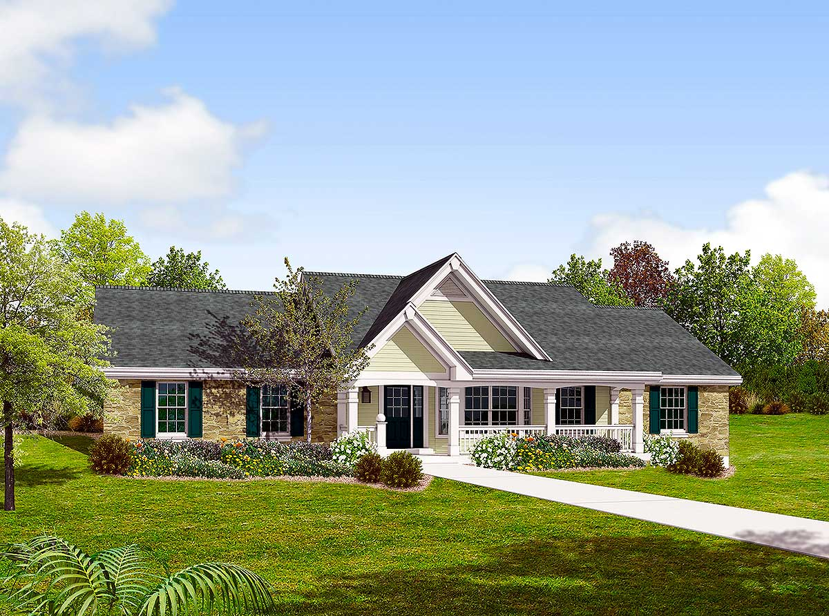 Drive under garage special 57120ha 1st floor master suite cad available corner lot - House plans with garage below ...