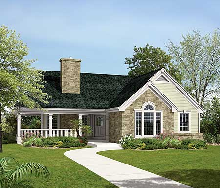 Country home plan for a sloping lot 57138ha for Sloped lot home designs