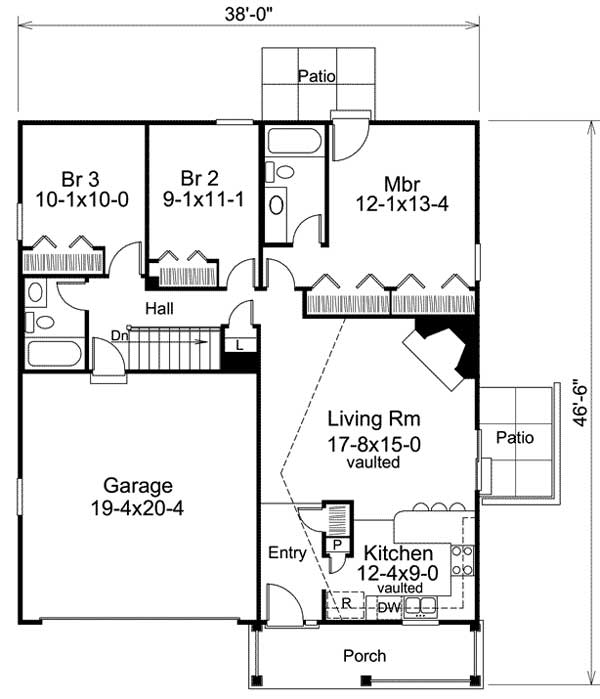 Efficient ranch home plan for a slender lot 57149ha for Economical ranch house plans