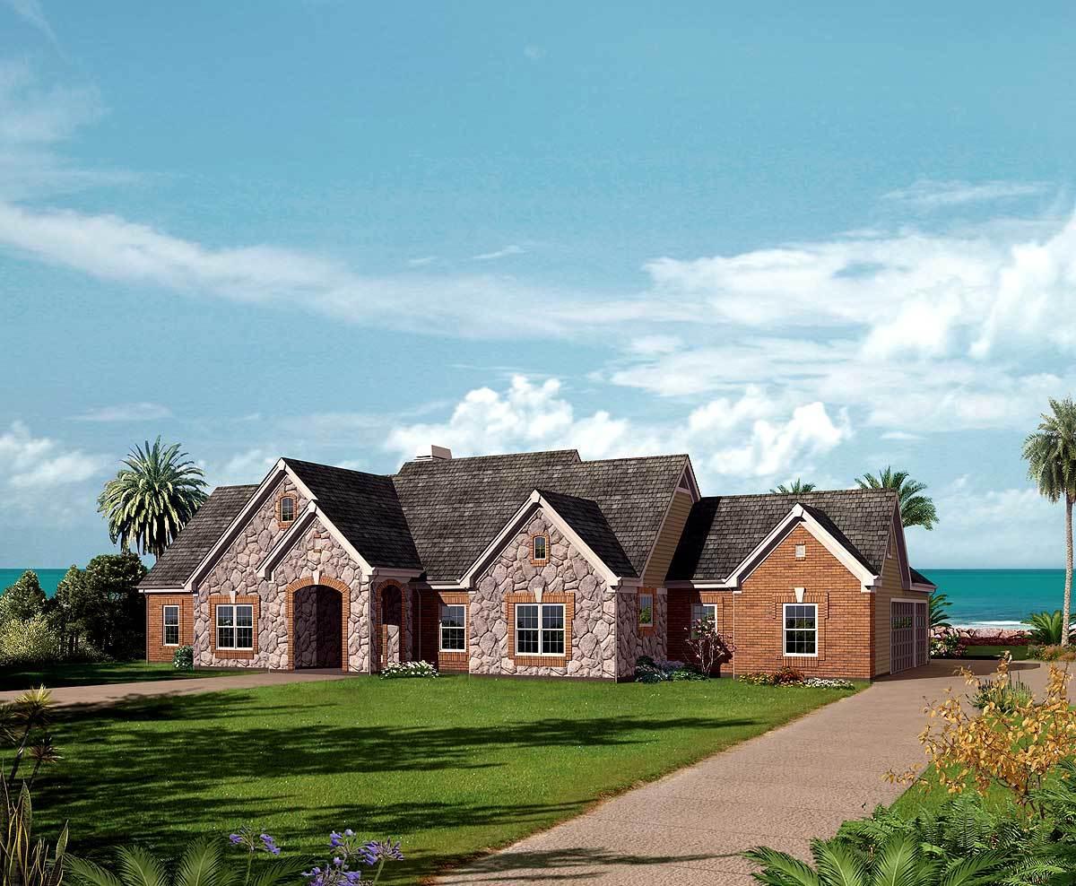 Unique One-Story House Plan with Solarium Bath - 57154HA ...