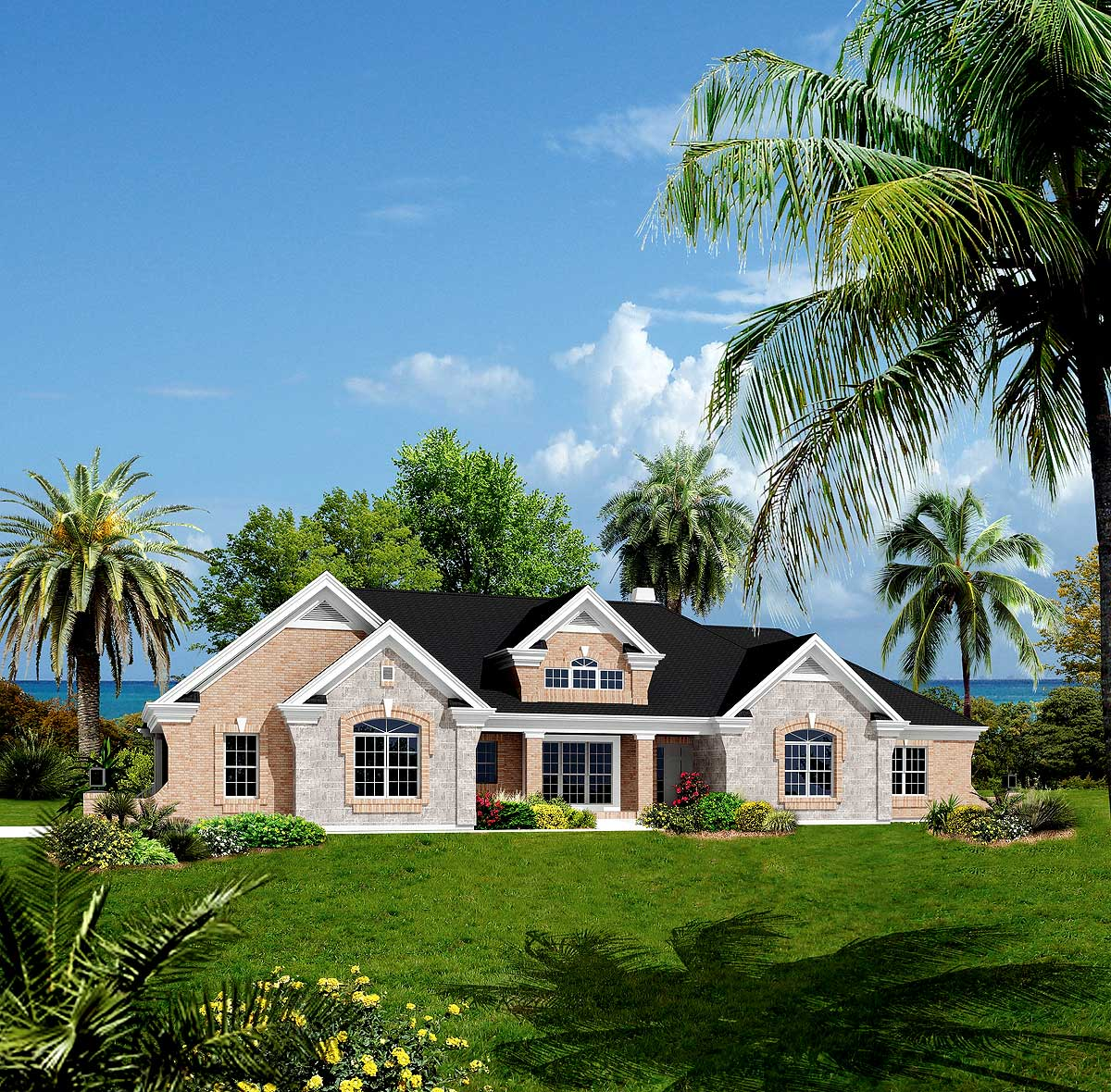 Atrium Ranch Home Plan With Sunroom 57155ha 1st Floor