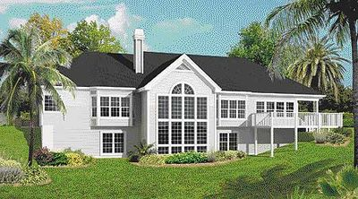 Atrium Ranch Home Plan With Sunroom 57155ha
