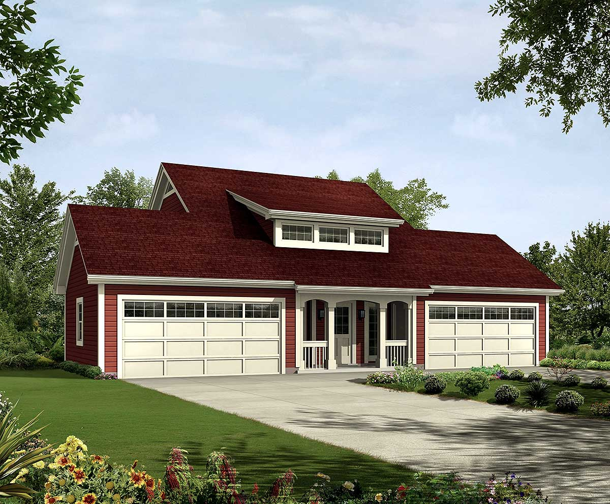 4 car apartment garage with style 57162ha - Apartment designs and floor plans ...