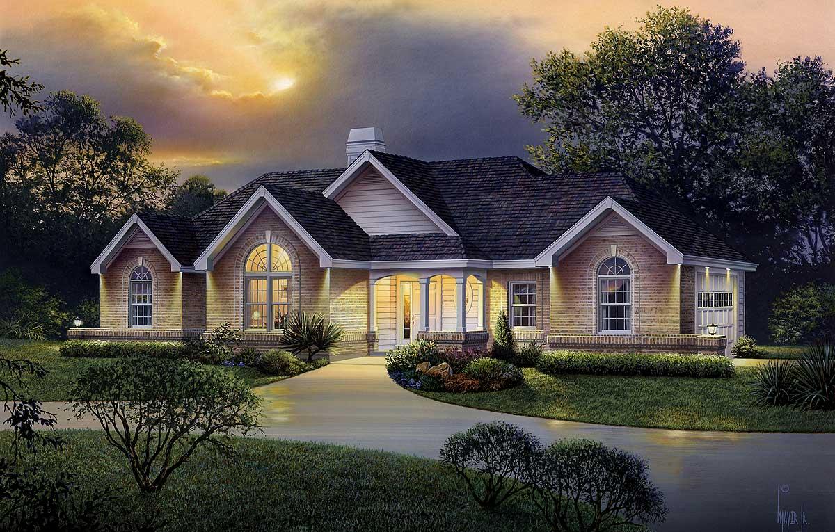 Atrium Ranch Home Plan 57226ha Architectural Designs