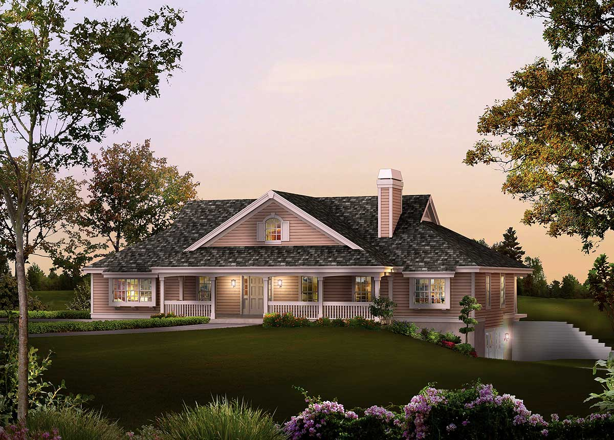 Ranch home plan with sunroom 57229ha architectural for Walkout basement sunroom