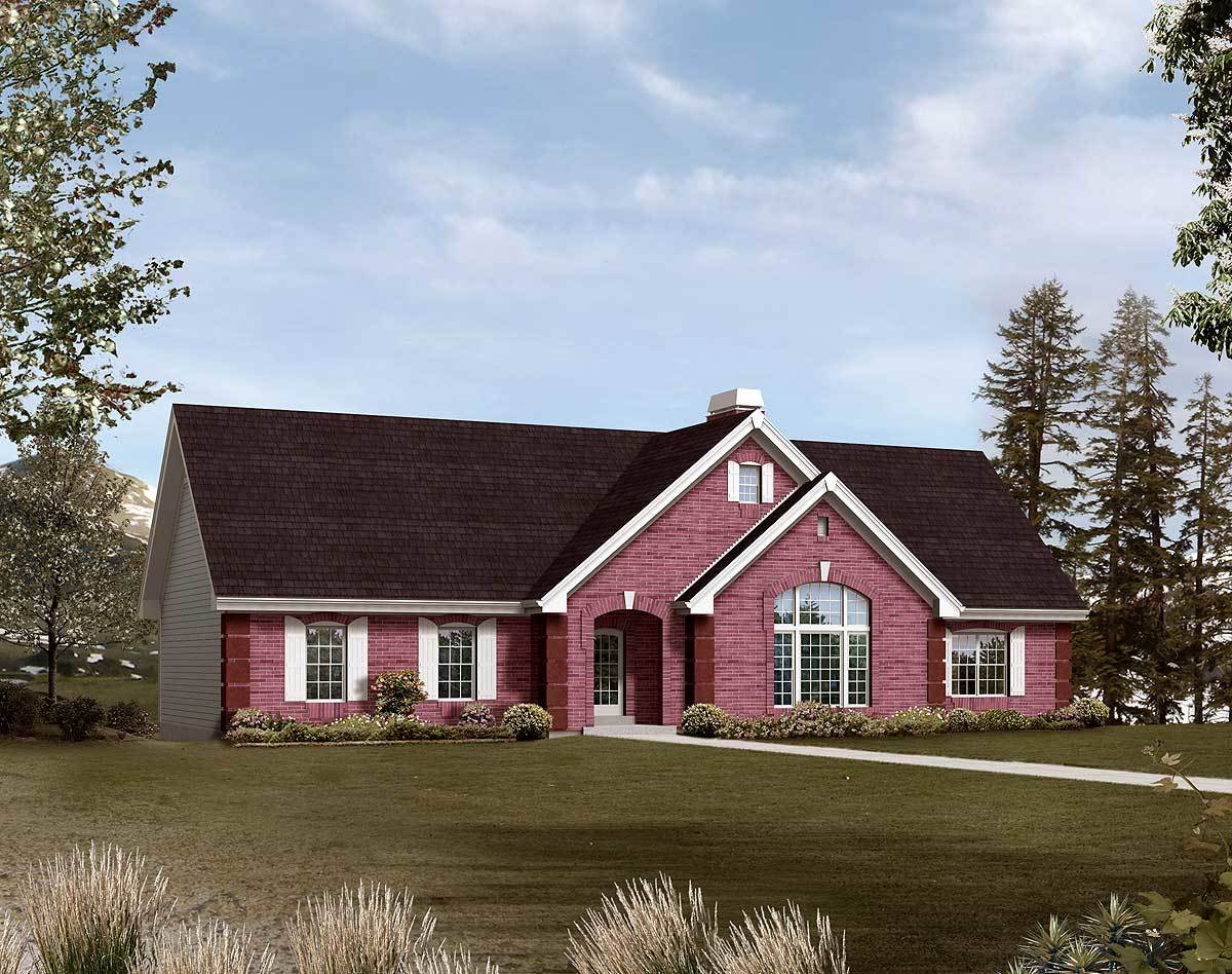 Ranch home with drive under garage 57238ha 1st floor for House plans with drive through garage