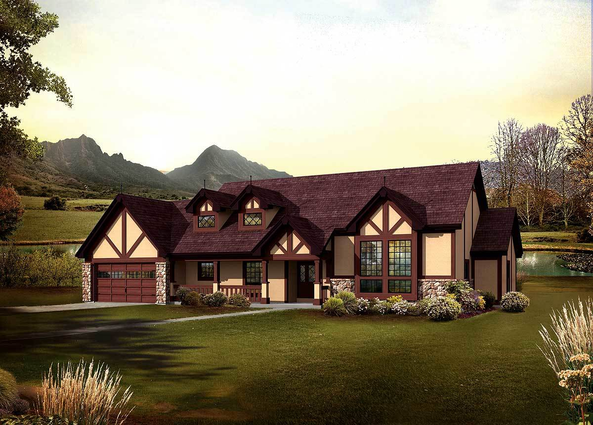 Classic tudor ranch home 57240ha architectural designs for Classic tudor house plans