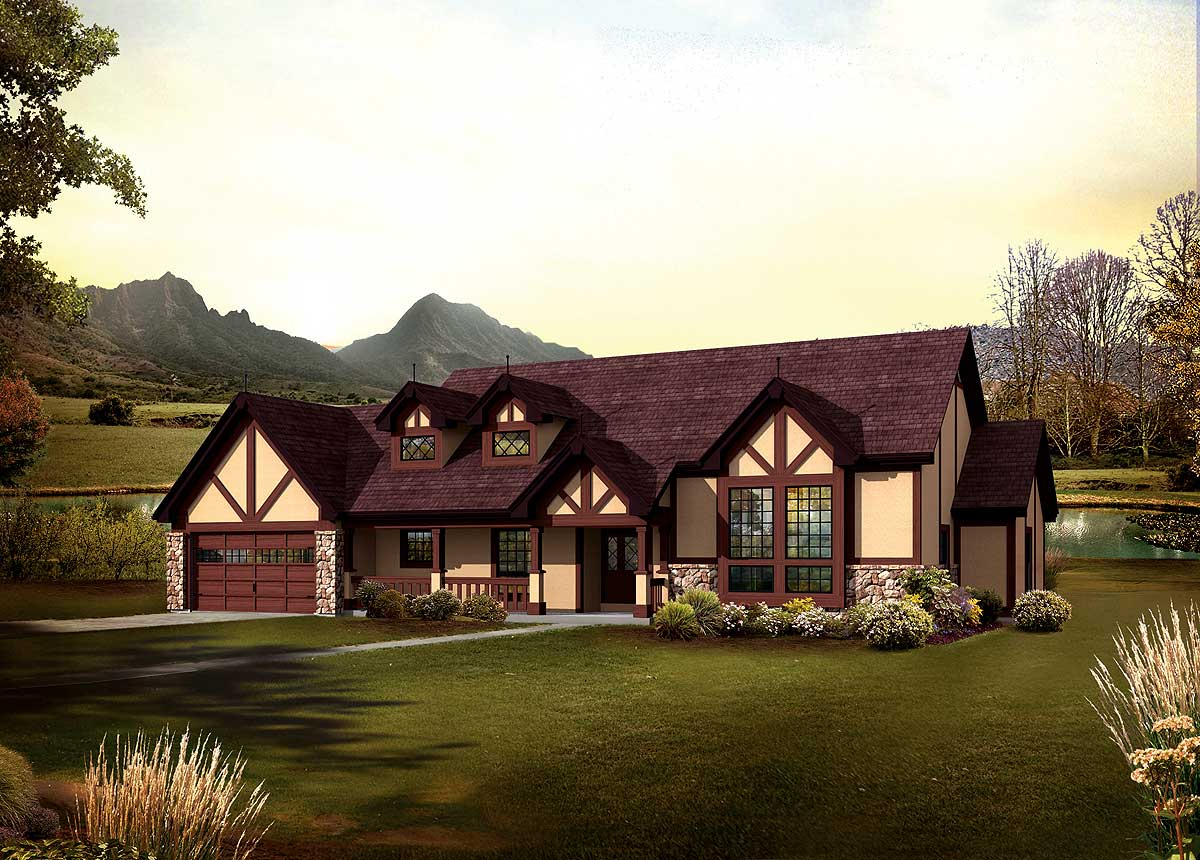 Classic tudor ranch home 57240ha architectural designs for Classic ranch house plans