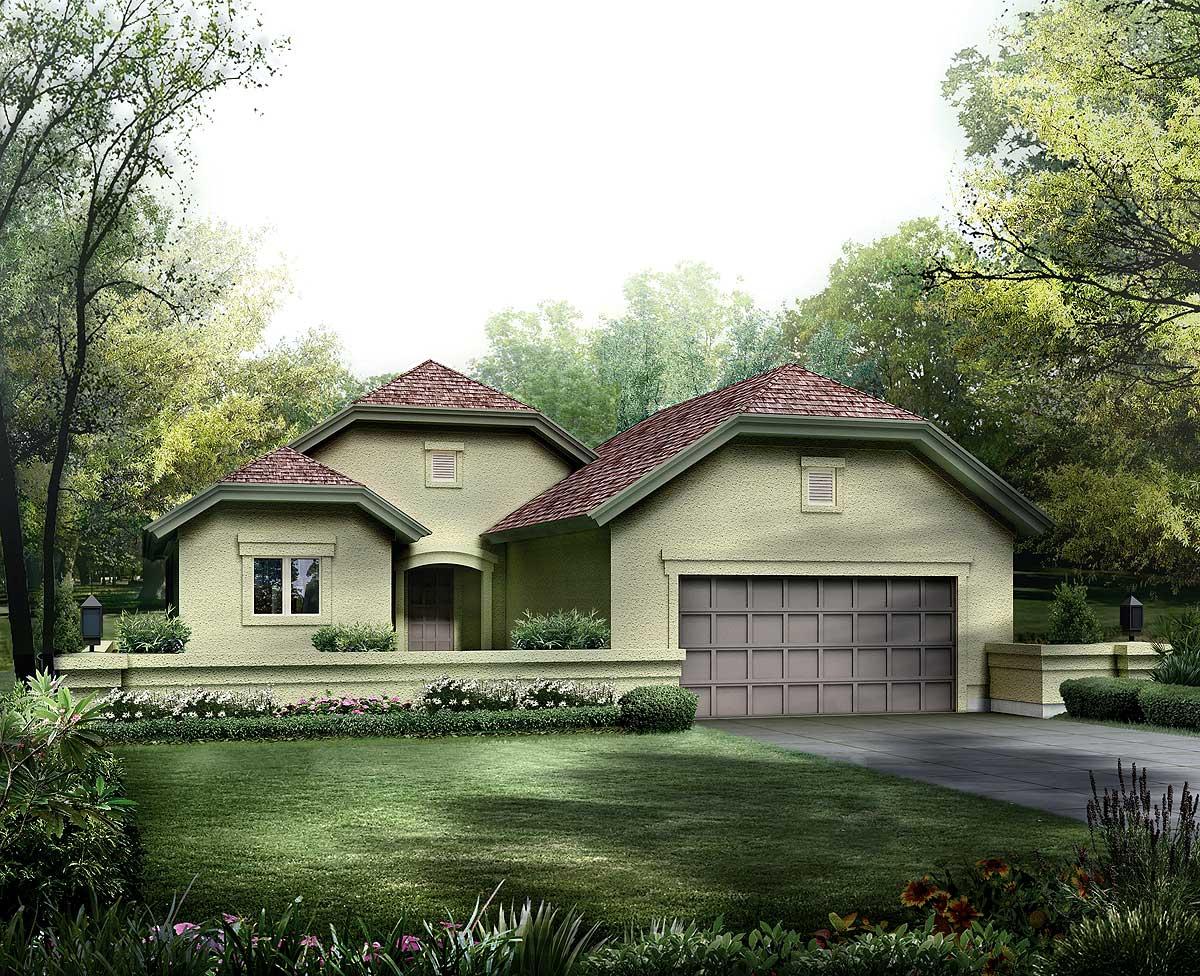 Narrow Lot Courtyard Home Plan 57245ha 1st Floor