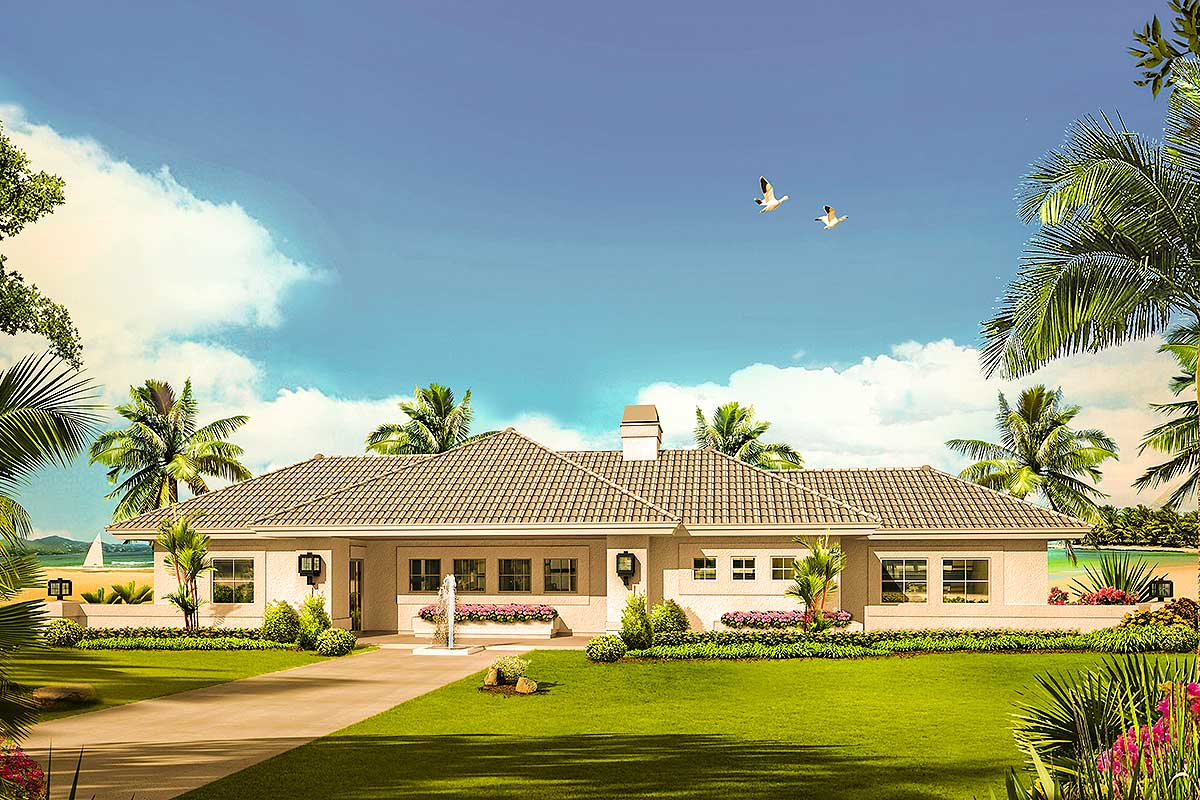 Mediterranean home plan with central courtyard 57268ha for Mediterranean home plans with courtyards