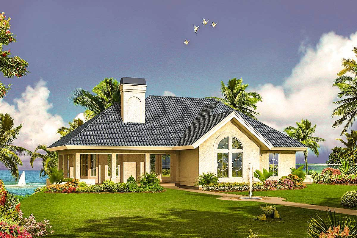 Florida home with wrap around porch 57282ha for Florida ranch house plans
