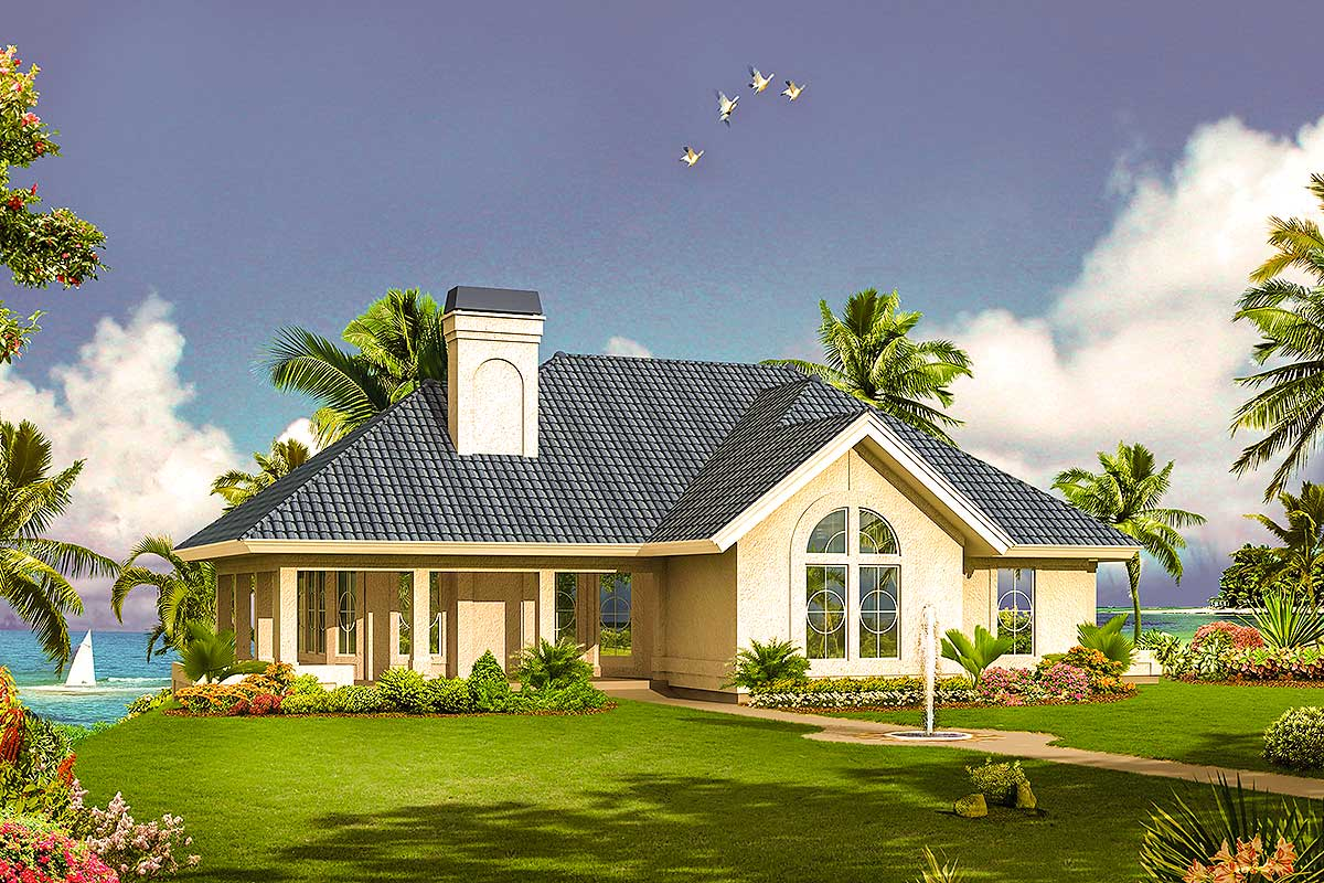Florida home with wrap around porch 57282ha for Florida house designs