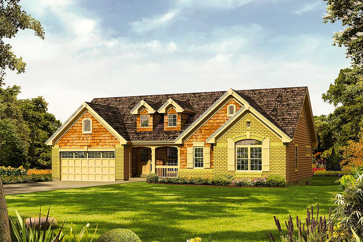 Ranch home plan with vaulted ceilings 57285ha for Home plans with vaulted ceilings