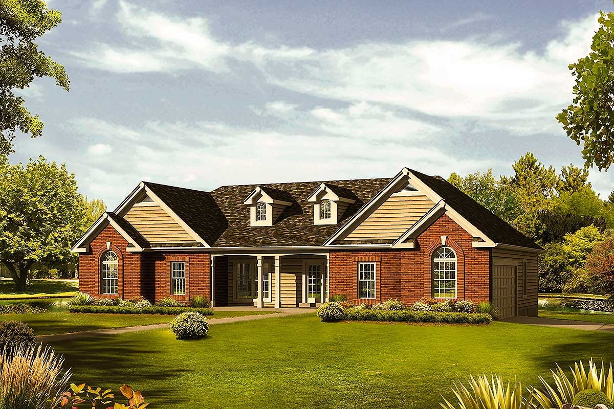 Ranch home with vaulted great room 57287ha for Great home plans