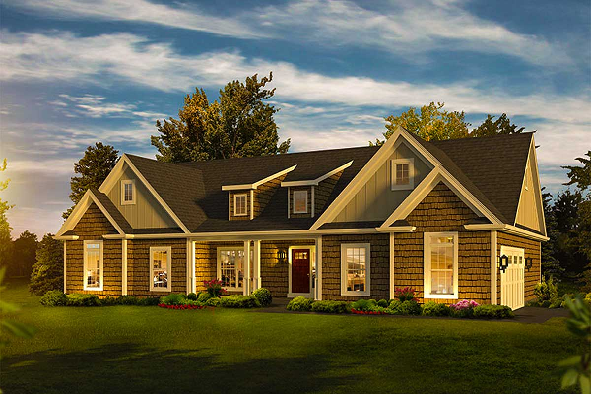 3 Bed Craftsman Ranch With Shed Dormers 57326ha