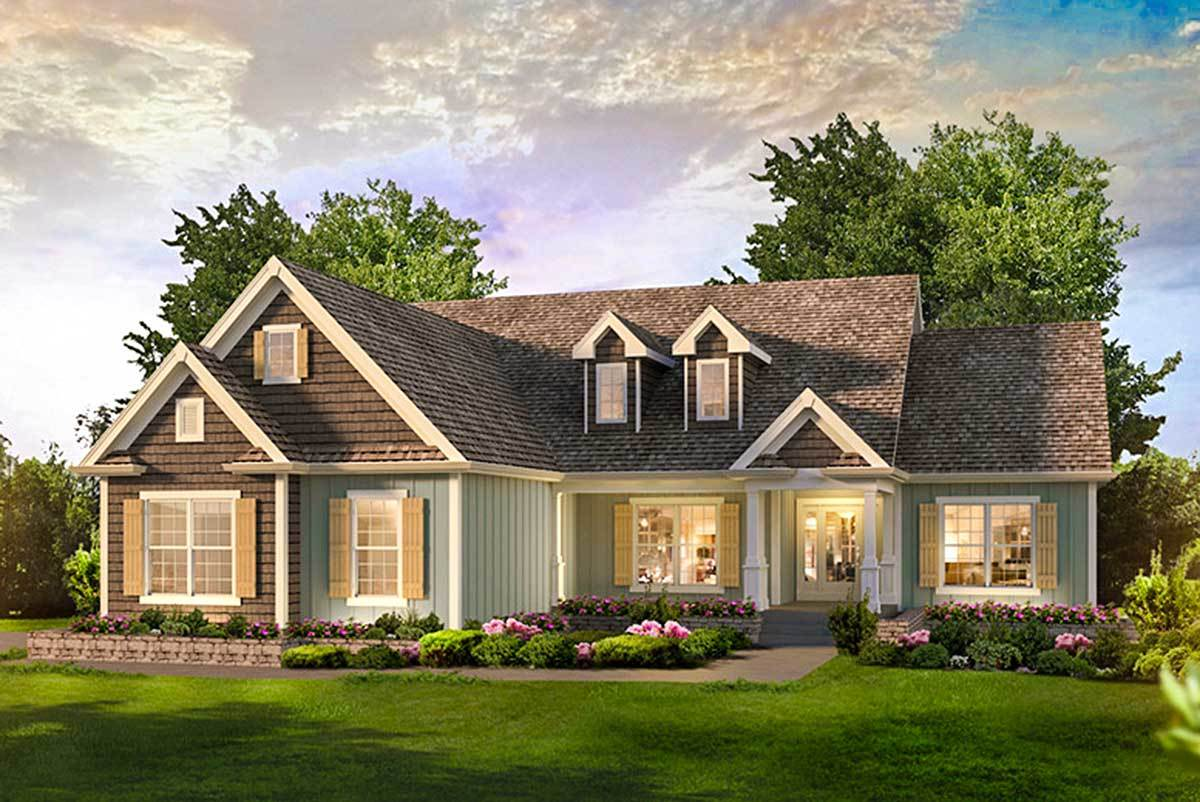3 bed country ranch home plan 57329ha architectural for Large ranch home plans