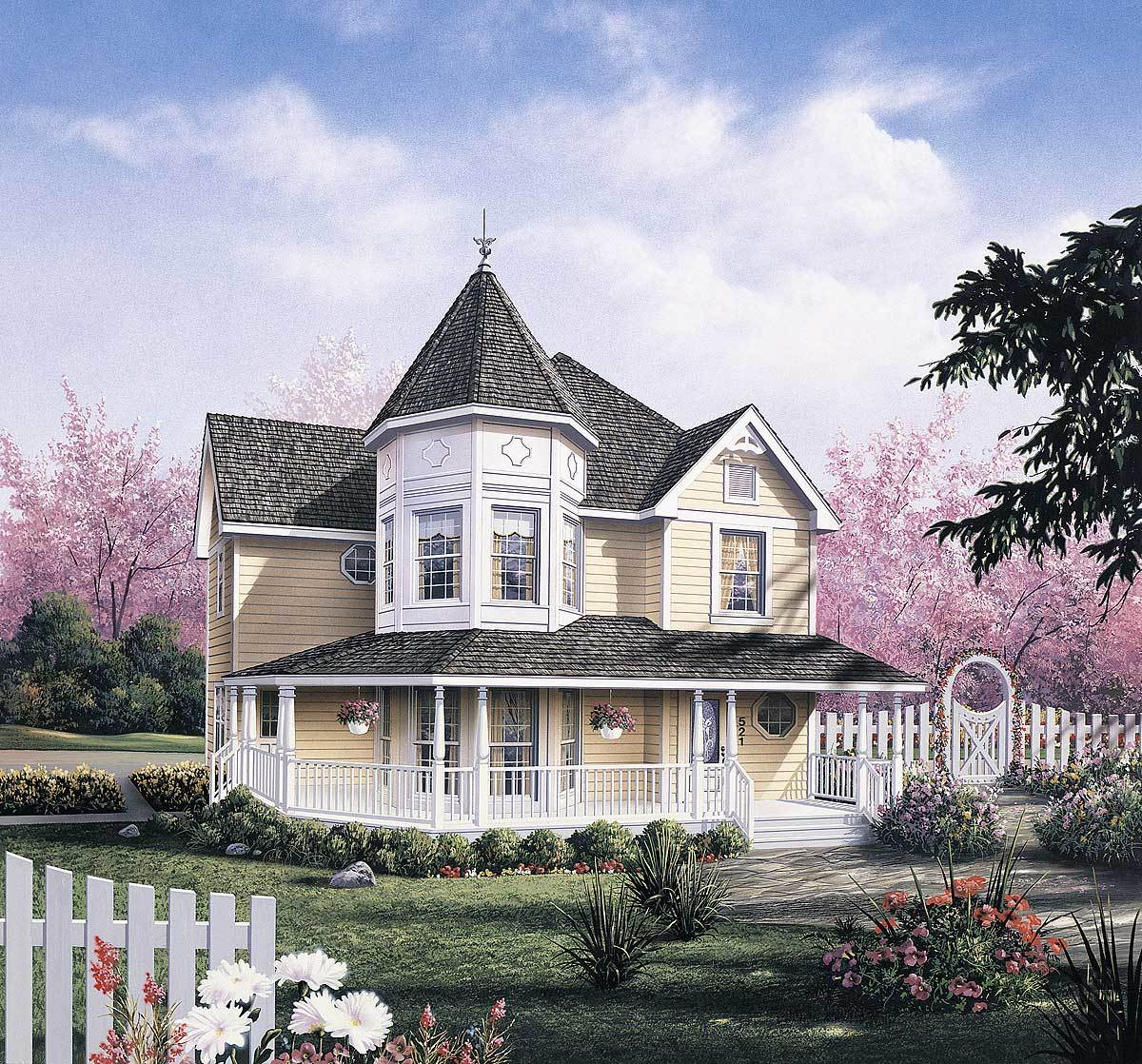 Dramatic layout created by victorian turret 5742ha for Victorian home plans with turret