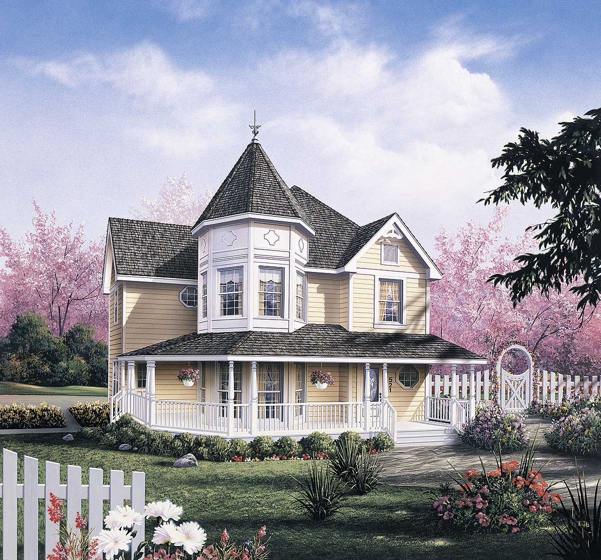 Dramatic layout created by victorian turret 5742ha 2nd for Victorian house plans with turrets