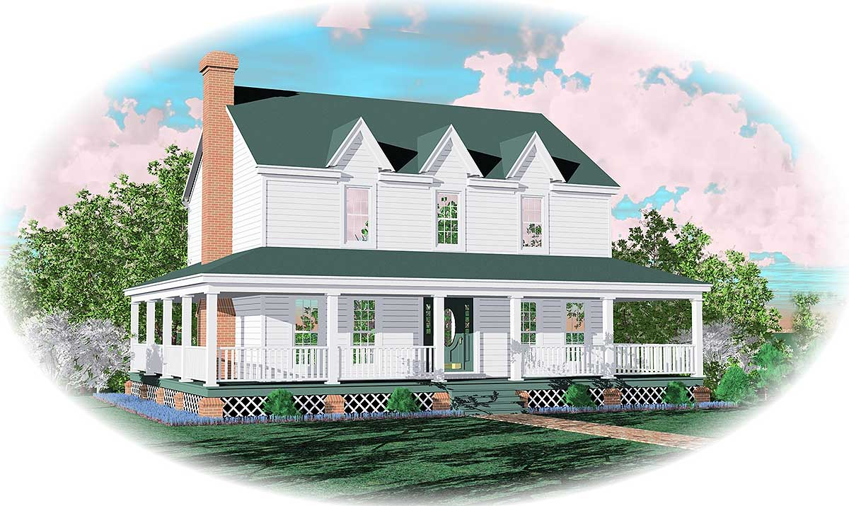Farmhouse home plan with wrap around porch 58277sv 2nd for Wrap around porch floor plans