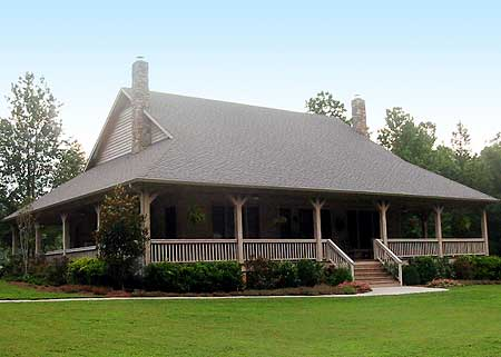 Distinctive front and rear porches 58299sv country for Barn house plans with porches