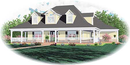 Southern Charm With Wrap Around Porch 58334sv
