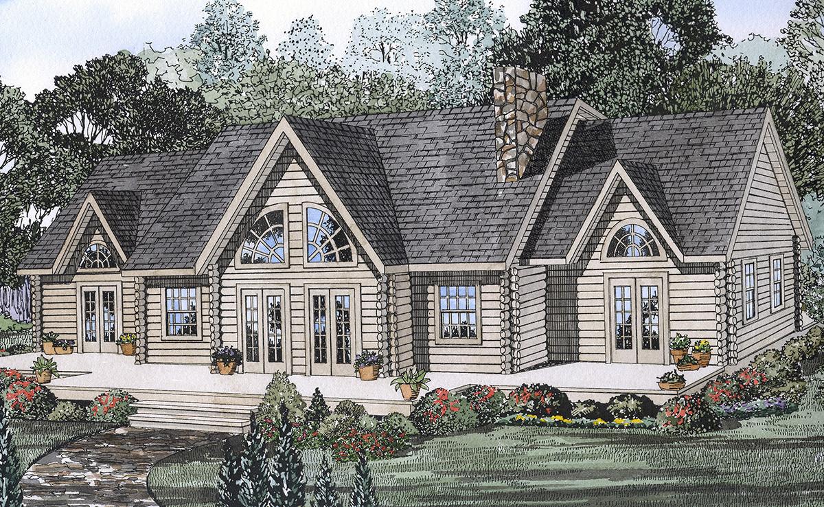 Unique log design 59003nd architectural designs for Unique log home plans