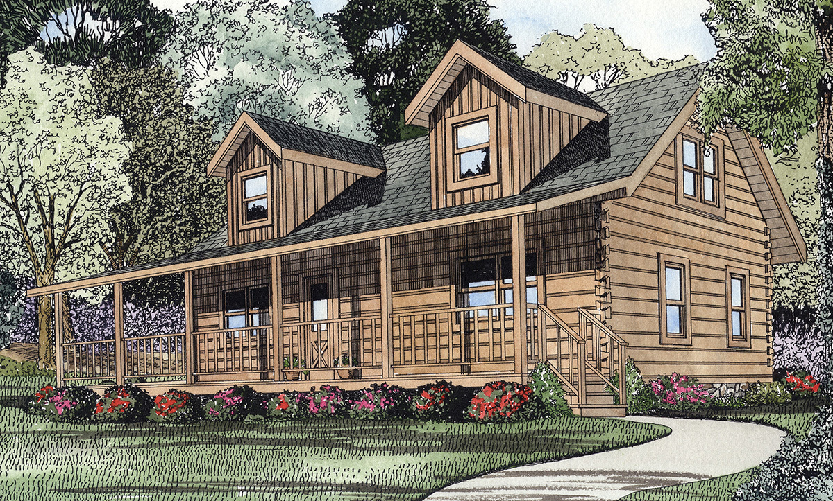 Traditional log design 59007nd architectural designs for Traditional log cabin plans
