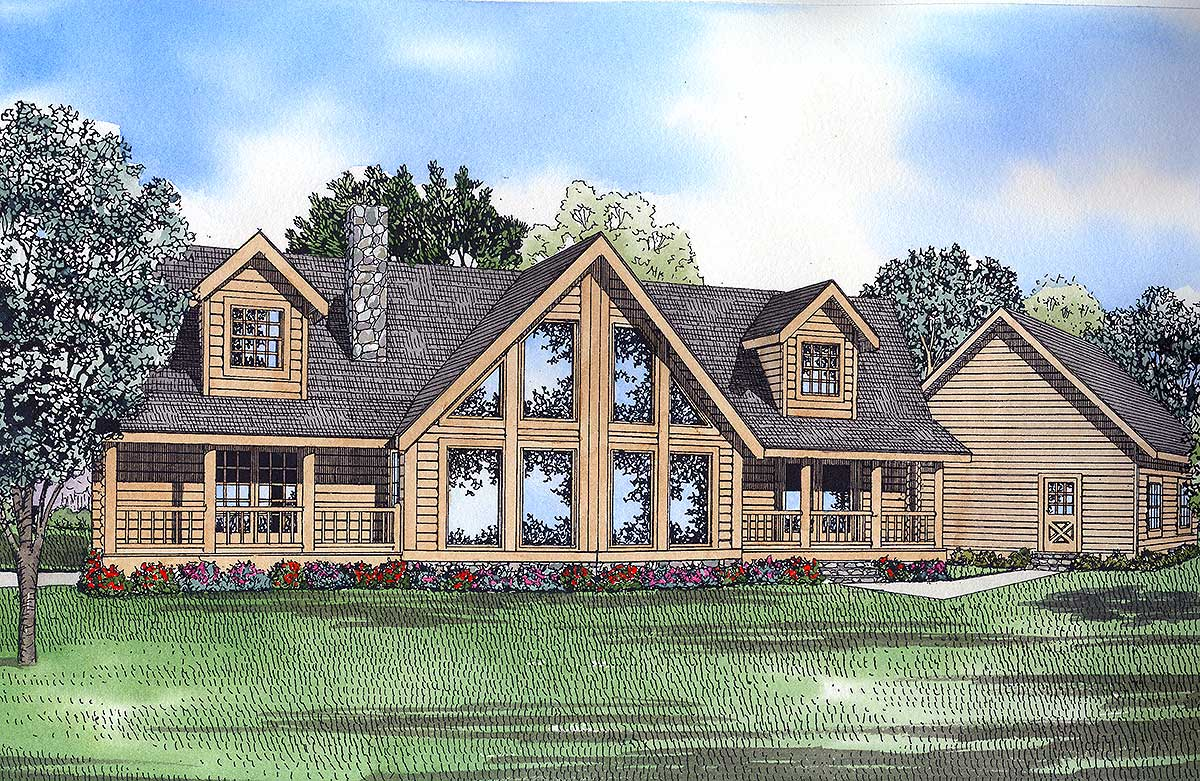 Log home elegance 59041nd architectural designs for Log home architects
