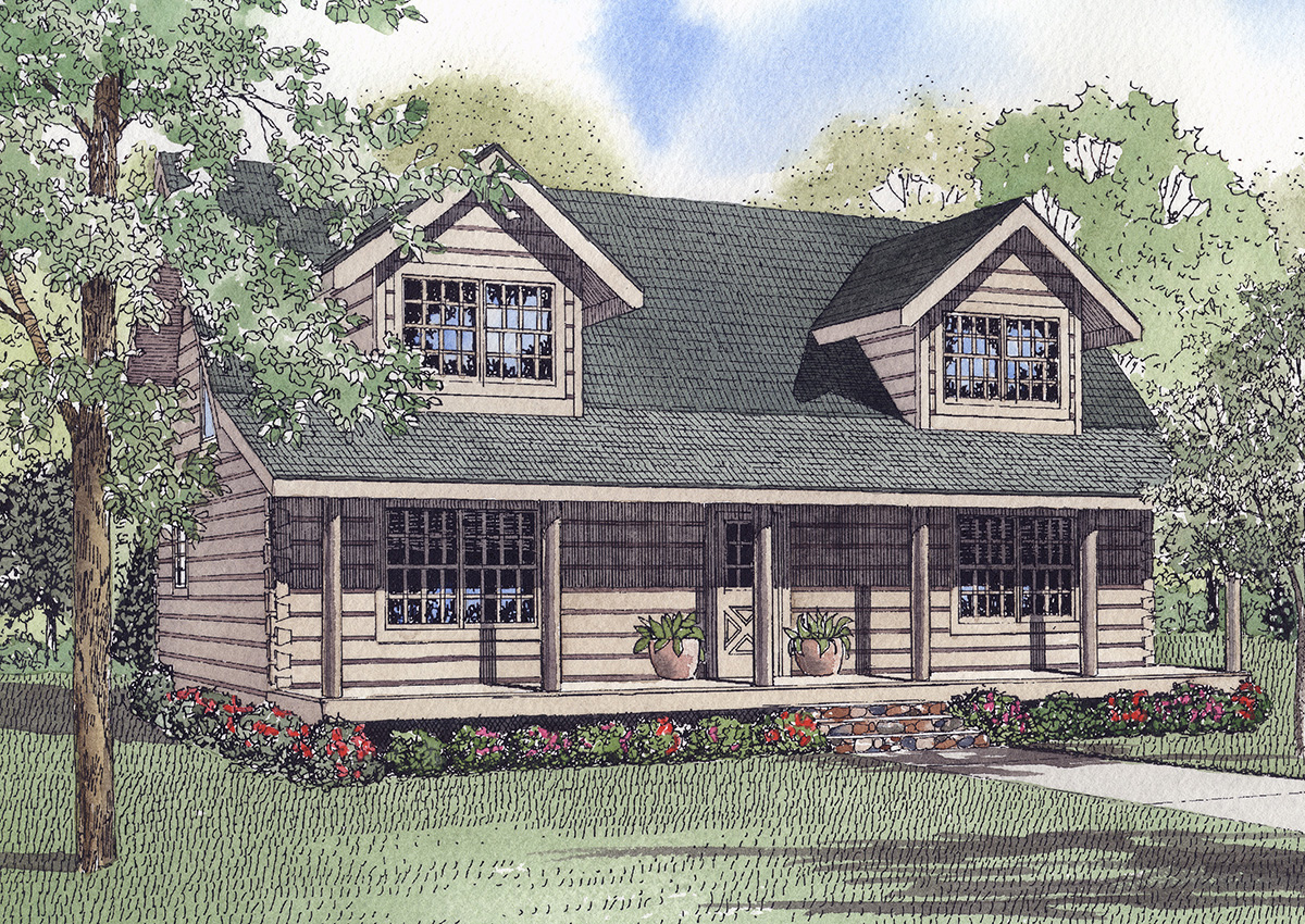 quaint square log home 59048nd architectural designs