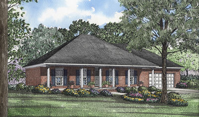 Beautiful columns 59105nd architectural designs for Hip roof ranch house plans