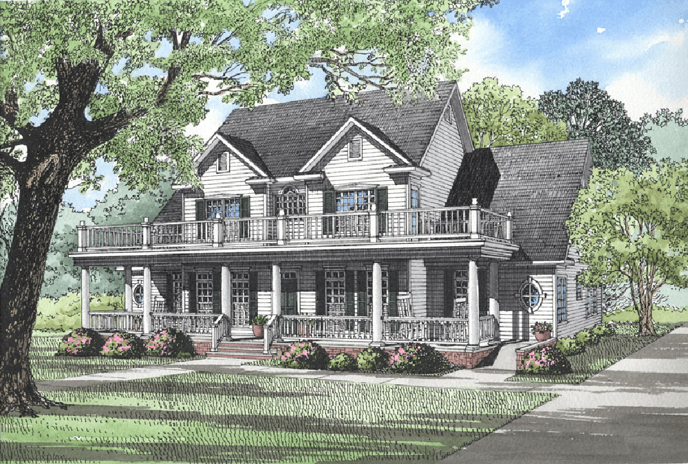 Southern home with handicapped accessible feature 5913nd for Plantation house plans with wrap around porch
