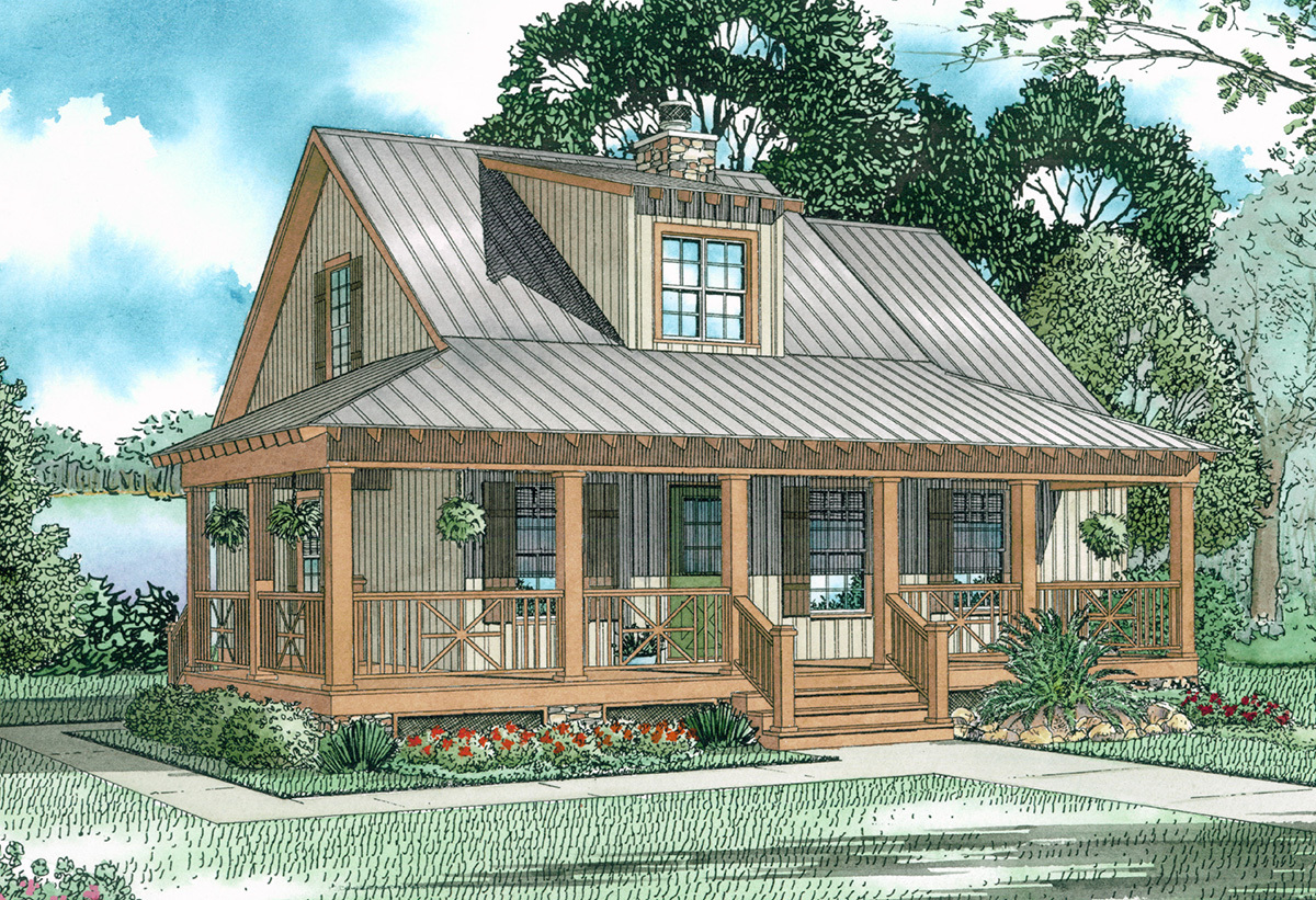 Covered porch cottage 59153nd architectural designs for Cottage house plans with porch