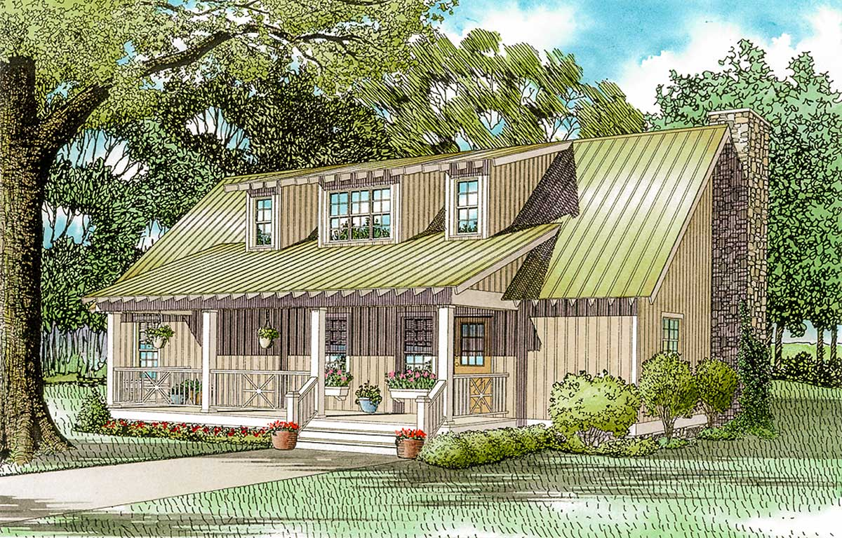 Home Plans: Lake Side Cabin Cottage - 59154ND