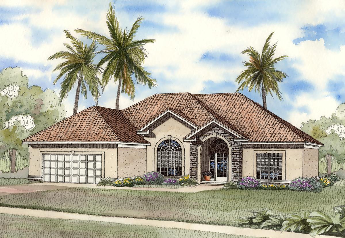 Lovely split level home plan 59194nd 1st floor master for Split mediterranean house