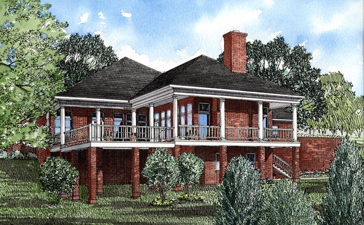 Lakeside home plan 59198nd 1st floor master suite for Lakeside home plans