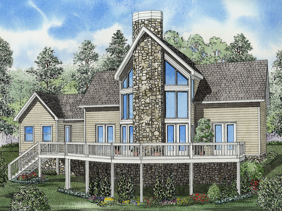 Glorious vacation house plan 59204nd architectural for Large front windows house