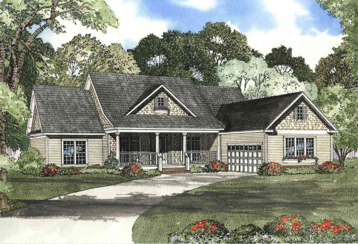 Cedar shake split bedroom house plan 59248nd 1st floor for Cedar shake home plans