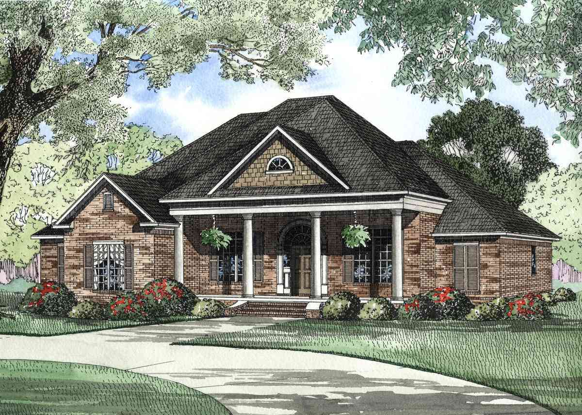 Covered Front Porch Traditional Home