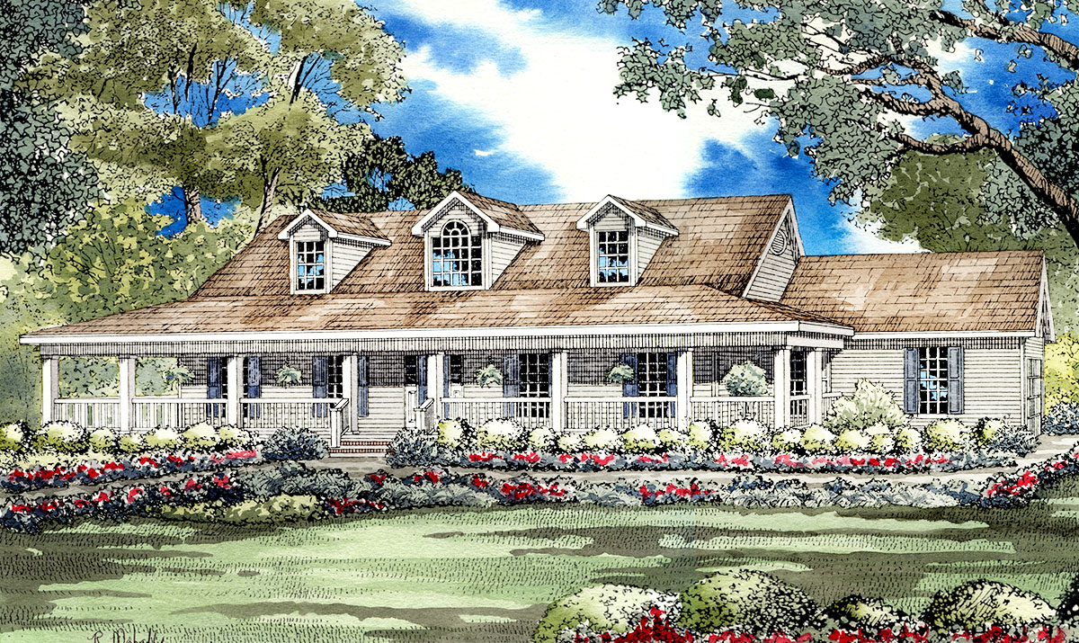 Low country home plan 59298nd architectural designs for Low country house