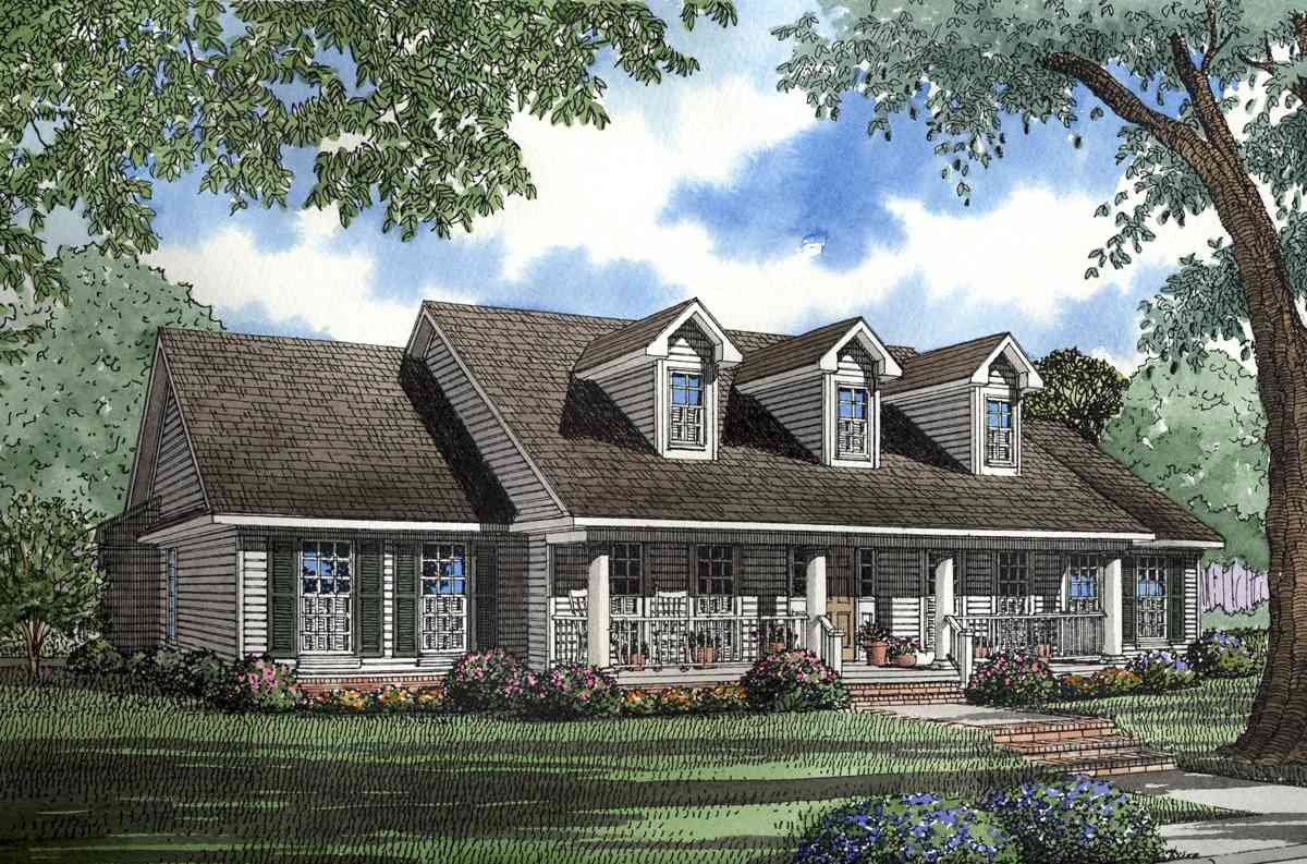 Southern traditional home plan 59300nd architectural for Traditional farmhouse plans