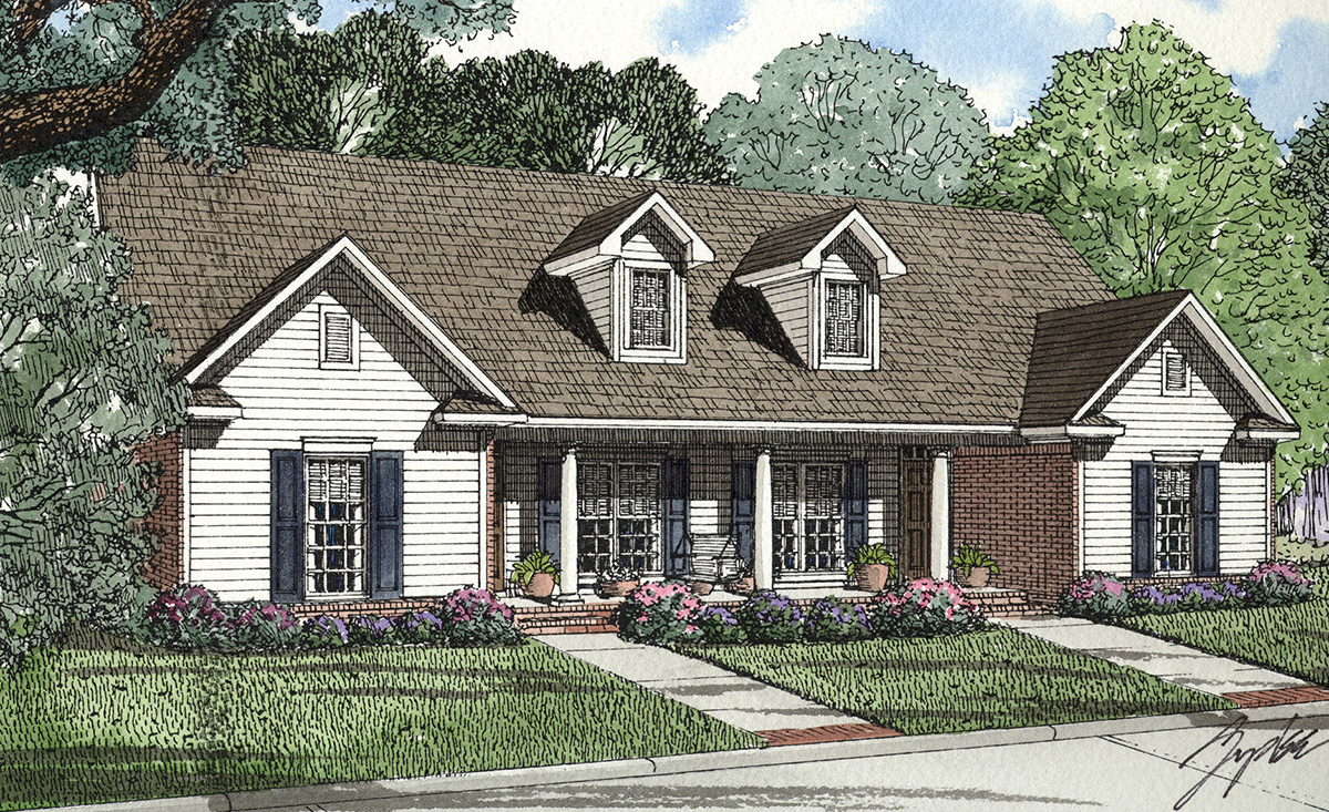 Covered porch two family 59319nd architectural designs house plans - Covered porch house plans space for the family ...